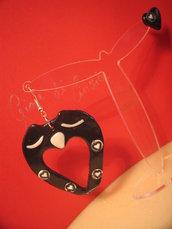 Orecchini cuore di gufo nero