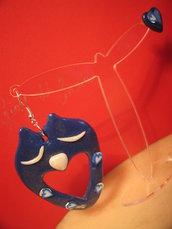 Orecchini cuore di gufo blu