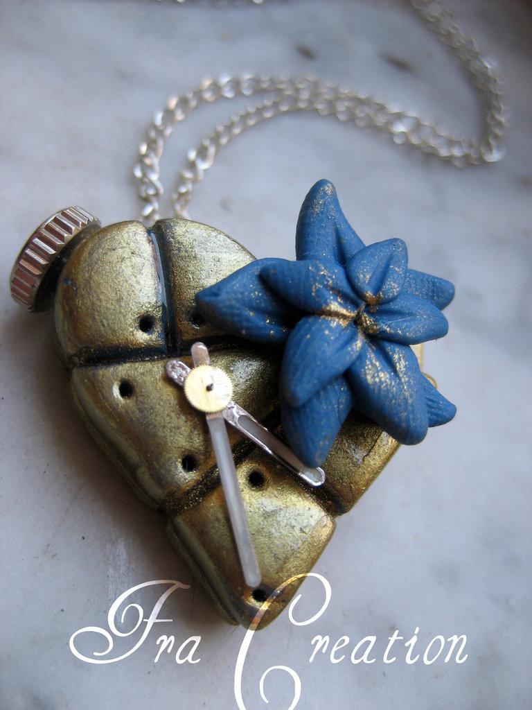 cuore metalizzato orologio