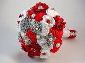 Bouquet sposa.Spilla Bouquet. Bouquet tessuto rosso e  bianco.