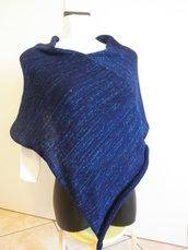 Poncho blu con lurex,misto lana,poncho leggero,accessori donna