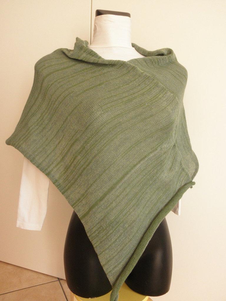 Poncho verde salvia melange,cotone e viscosa,leggero,poncho donna,maglieria