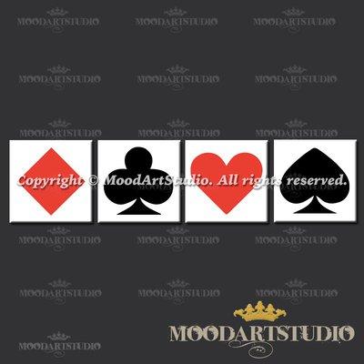 Quadro minimalista con semi da poker in rosso e nero