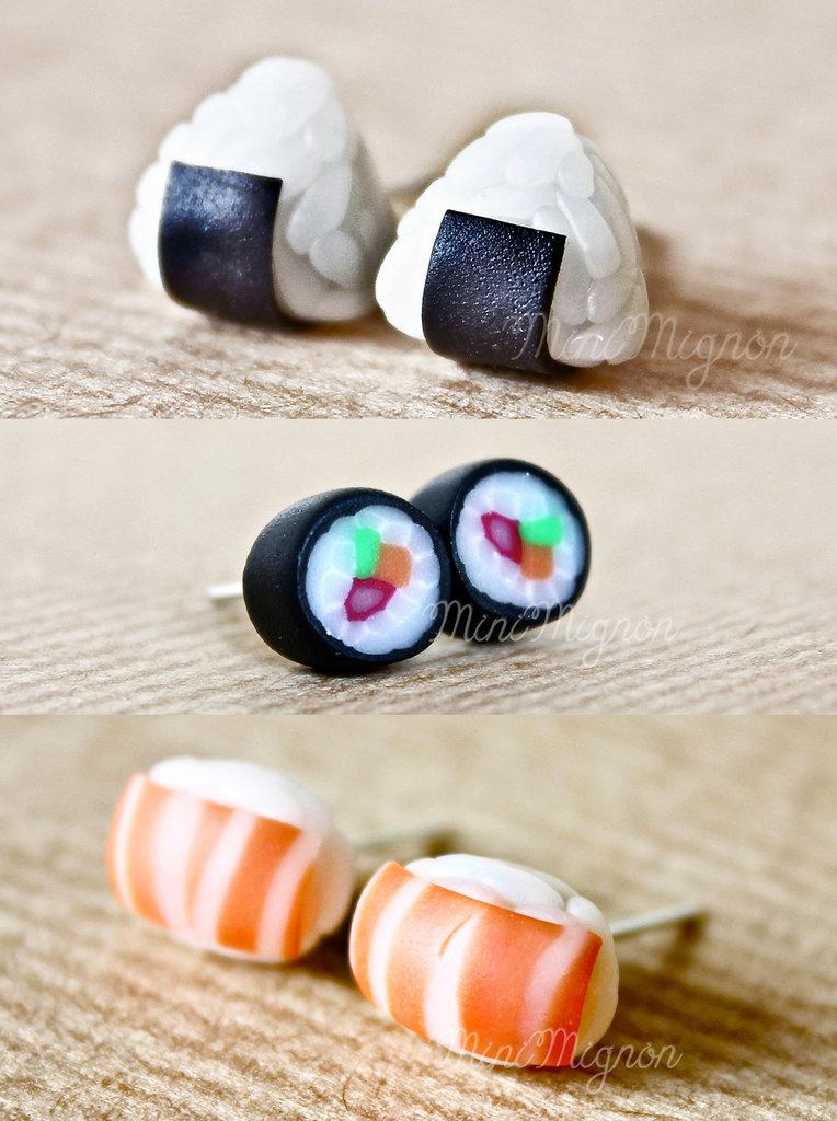 Set 3 paia di orecchini lobo Onigiri-Hosomaki-Sushi