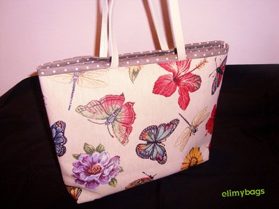 Borsa primavera farfalle e fiori di stoffa handmade♡