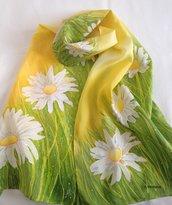 Sciarpa di seta dipinta a mano - Primavera
