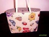 Borsa Primavera api e fiori di stoffa handmade☆