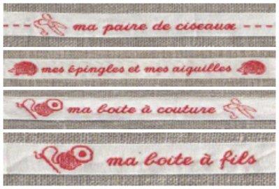Nastrini con scritte rosse : Cucito - Forbici - Fili - Aghi - Spilli