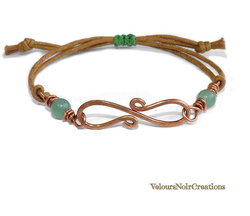 Bracciale con simbolo infinito creato a mano in rame e perla in giada