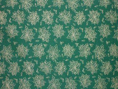 Tessuto Natalizio Verde Foglie Oro