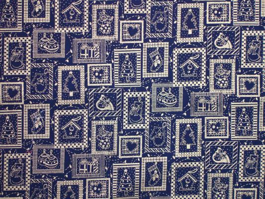 Tessuto Natalizio Blu con Motivi Riquadri Decorazioni  Natale