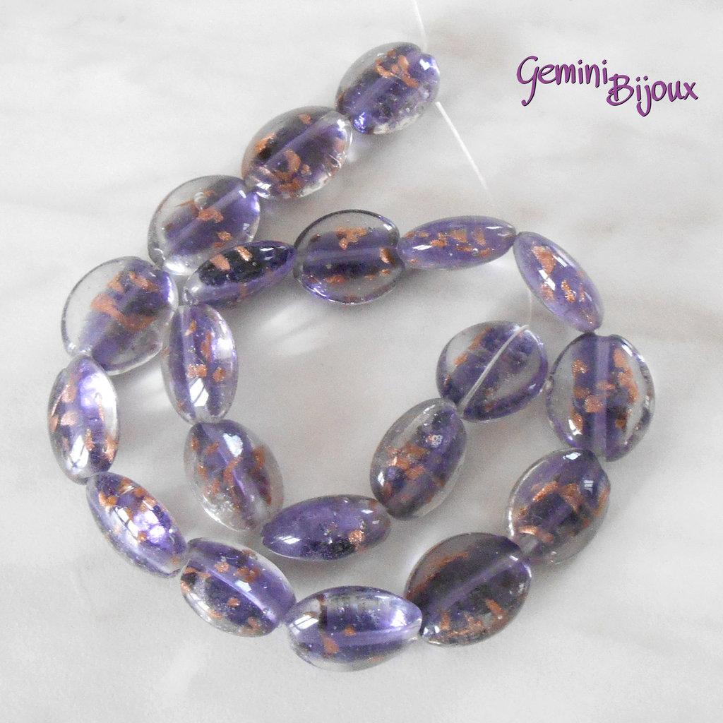 OFFERTA LAMPWORK: fila 20 olive viola/gold mm. 20x18