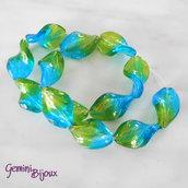 OFFERTA LAMPWORK: fila 12 olive attorcigliate verde/azzurro mm. 30x20