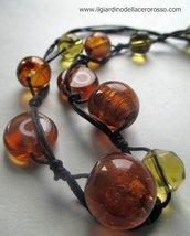 collana in corda e perle vetro, tonalità miele, il giardino dell'acero rosso