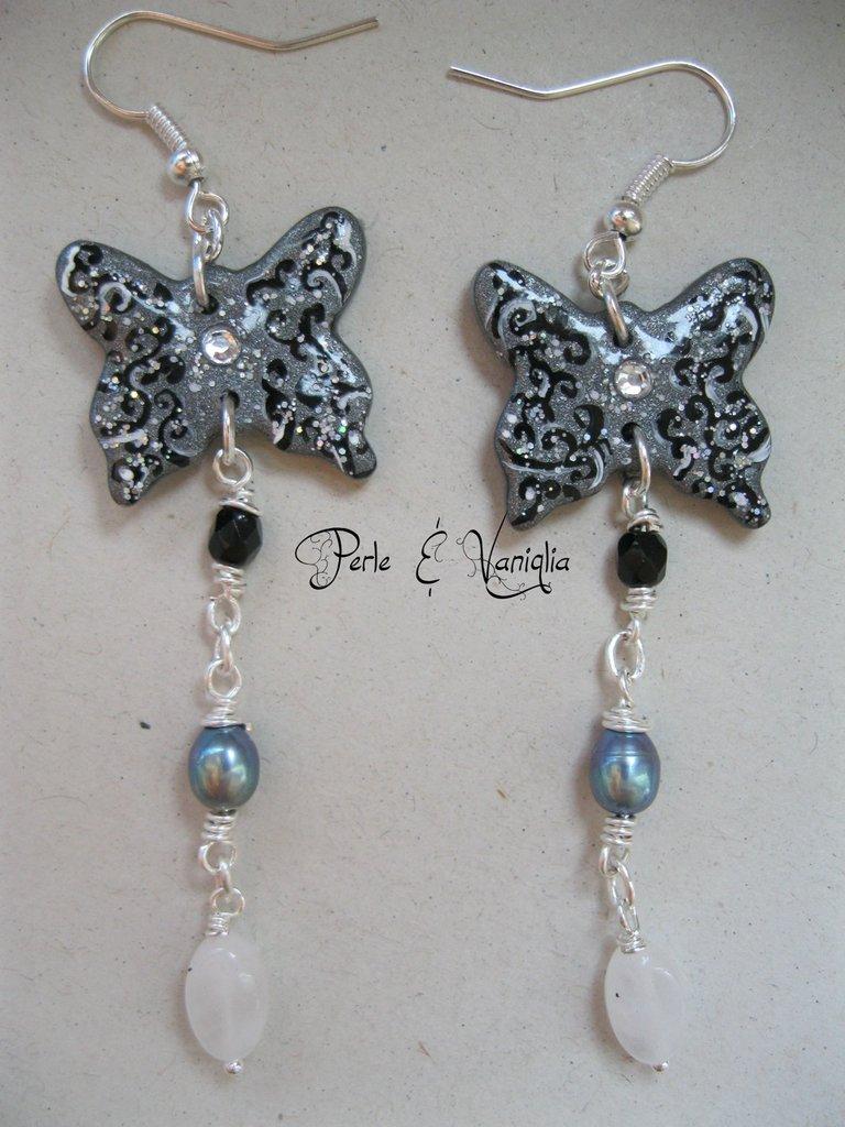 ♥ Georgiana ♥ orecchini farfalla con perle di fiume