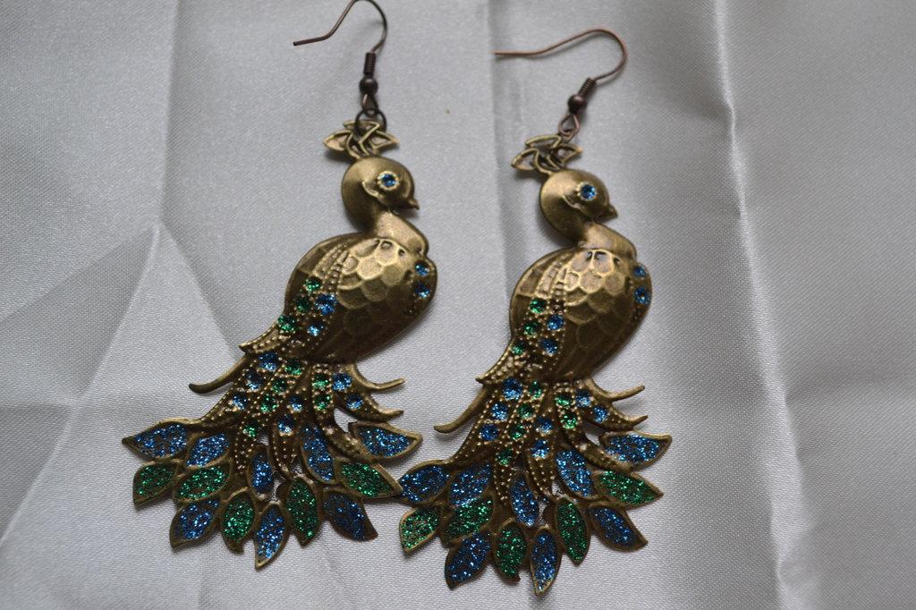 orecchini pendenti  pavone verde
