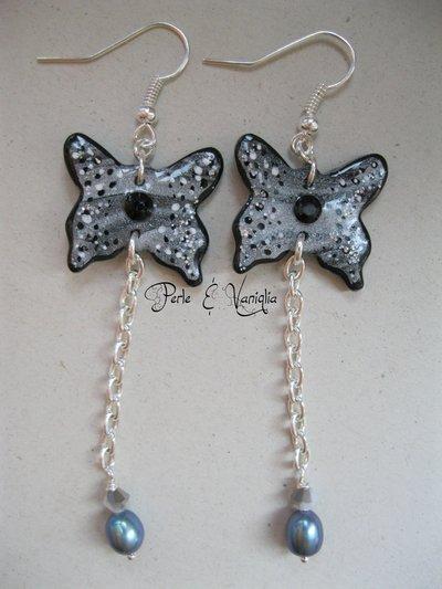 SCONTATI!!! ♥ Petula ♥ orecchini farfalla con perle di fiume