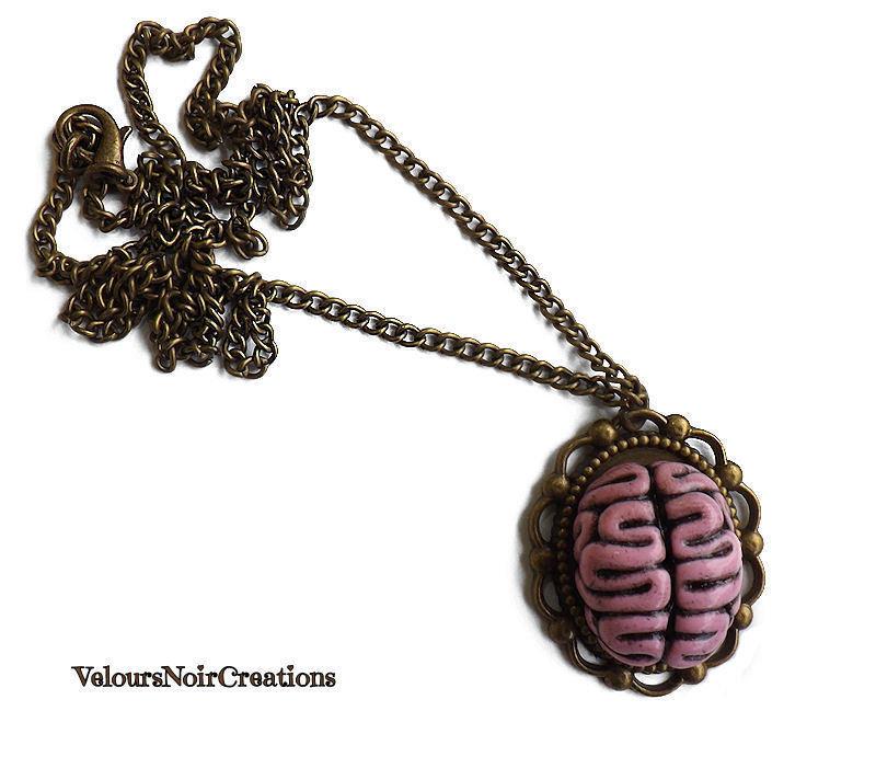 Collana in bronzo con cameo cervello creato a mano steampunk vintage