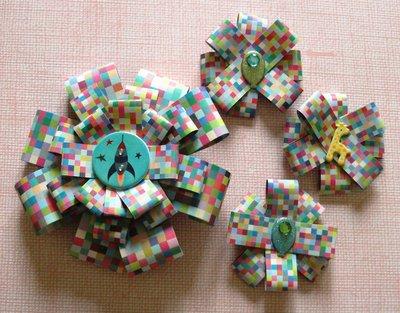 Coccarde Decorative Adesive - FantasyBoy - Lotto (4pz) - Packaging in Scrapbooking^^