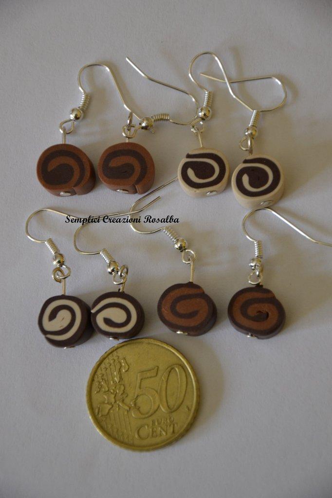 orecchini in fimo- girelle cioccolato- orecchini spiritosi fatti a mano- colore marrone