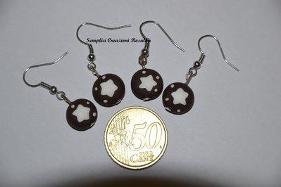 orecchini in fimo- pan di stelle o mooncake- orecchini spiritosi fatti a mano- colore marrone