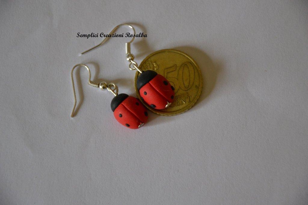 orecchini in fimo- coccinelle- vari colori- orecchini spiritosi fatti a mano