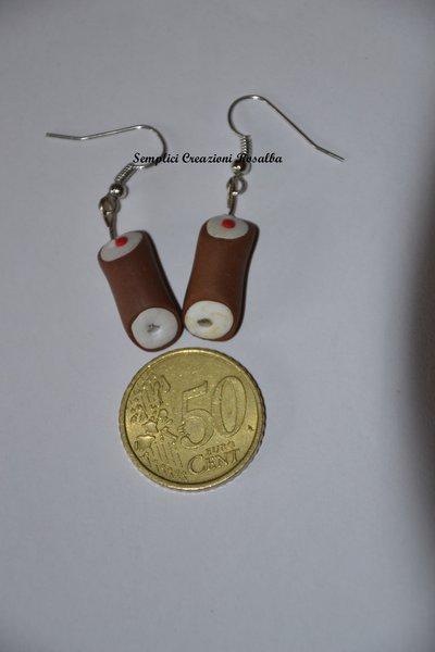 orecchini in fimo- cannolo siciliano- orecchini spiritosi fatti a mano- orecchini siciliani-I LOVE SICILIA