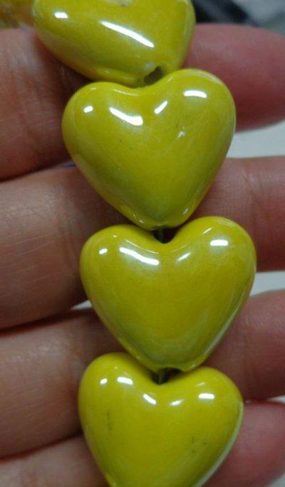 5 perline in porcellana perlata cuore colore giallo for Oggetti di colore giallo