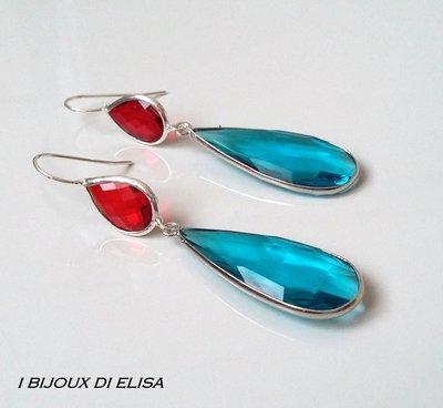 Orecchini con cristalli turchi azzurri e rossi