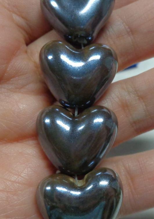 5 Perline in Porcellana Perlata CUORE colore CAFFE'