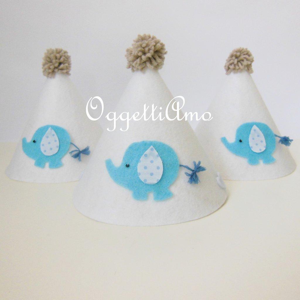 Cappellino di compleanno in feltro: un elefantino celeste per la festa del tuo bambino!