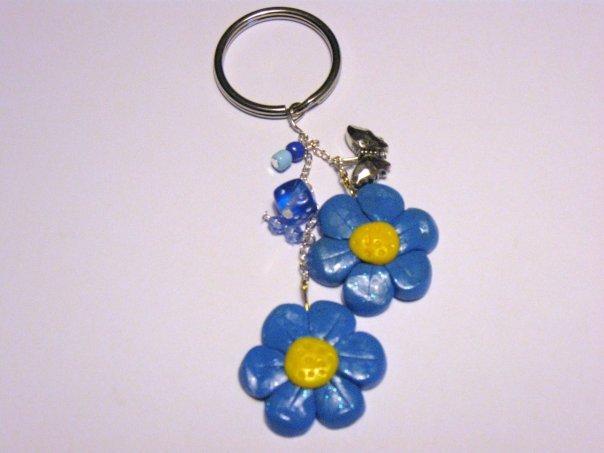 Portachiavi fiori blu