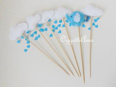 Cupcake toppers in pannolenci per decorare la vostra festa: elefantini, nuvole e tanti cuori!