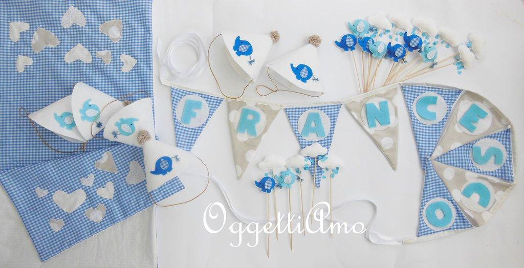 Coordinato a tema 'elefantino azzurro' per la tua festa di compleanno: cupcake toppers, bandierine e cappellini per personalizzare la sua festa!