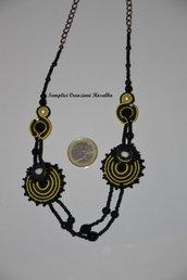 collana in soutache e perline - nei colori nero e giallo-  PARTICOLARE!!!