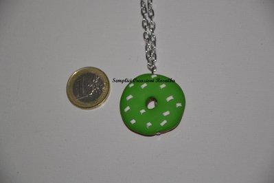 collana in Fimo ciambella glassa verde - donuts