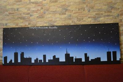 Quadro CIELO STELLATO, quadro luminoso - Led - Aerografia su tela e interventi a pennello