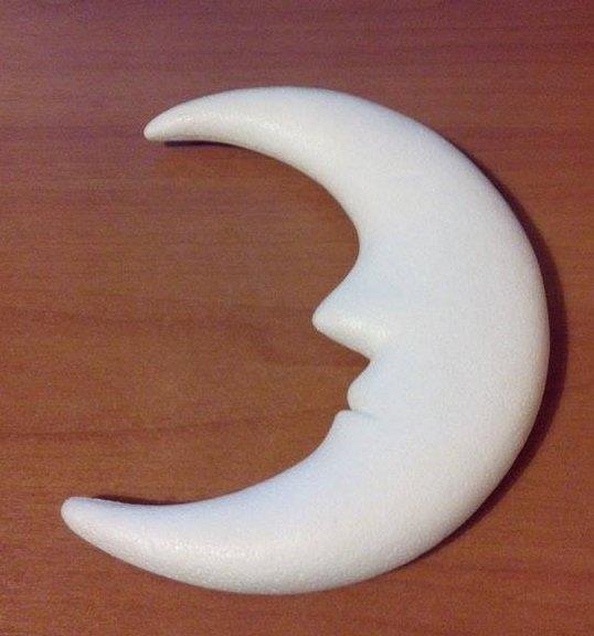 Mezza luna (da personalizzare con paillettes) con volto poco in rilievo