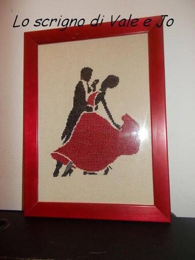 quadro ballo ricamato a punto croce ballerini liscio regalo festa della mamma