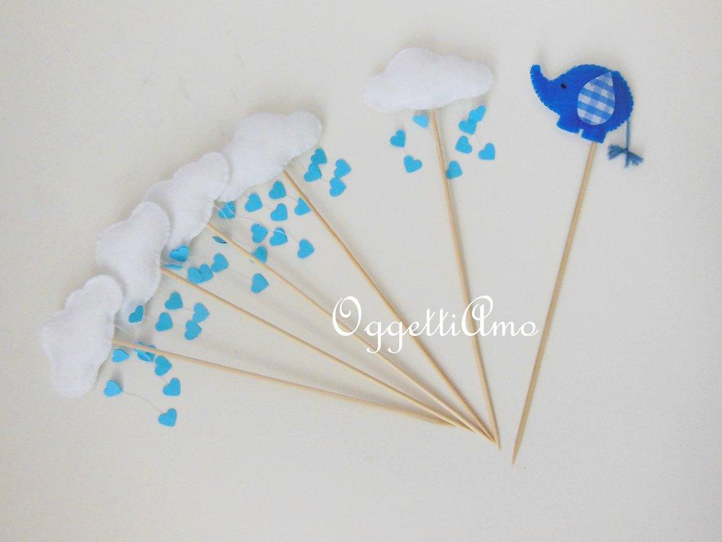 Cupcake toppers in pannolenci 'Elefantino blu' per una pioggia di cuori colorati!