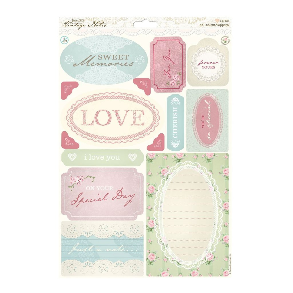 "A4 Die-cut Toppers - Vintage Notes ""Sentiments"""