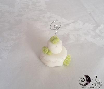 Bomboniera matrimonio mini cake segnaposto con rose verde pistacchio