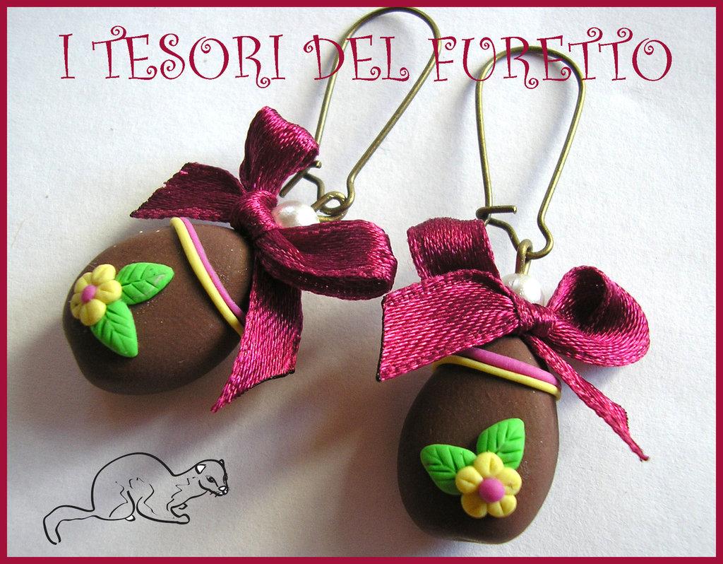 """Orecchini """"Ovetti cioccolato fondente"""" FImo cernit kawaii Pasqua idea regalo"""
