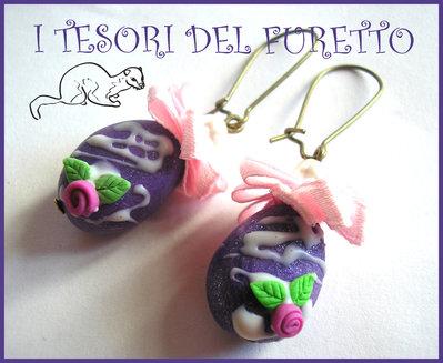 """Orecchini Pasqua """"Ovetti lilla """" fimo cernit kawaii idea regalo bambina cioccolato"""