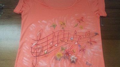 t shirt cotone, donna, dipinta a mano, colore rosa