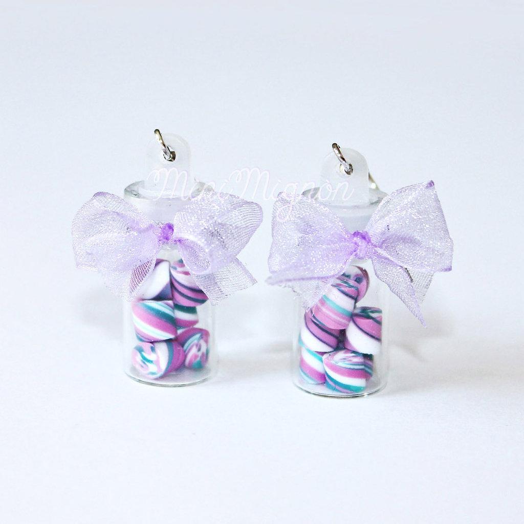 Orecchini pendenti Bottigliette e Marshmallows pastello