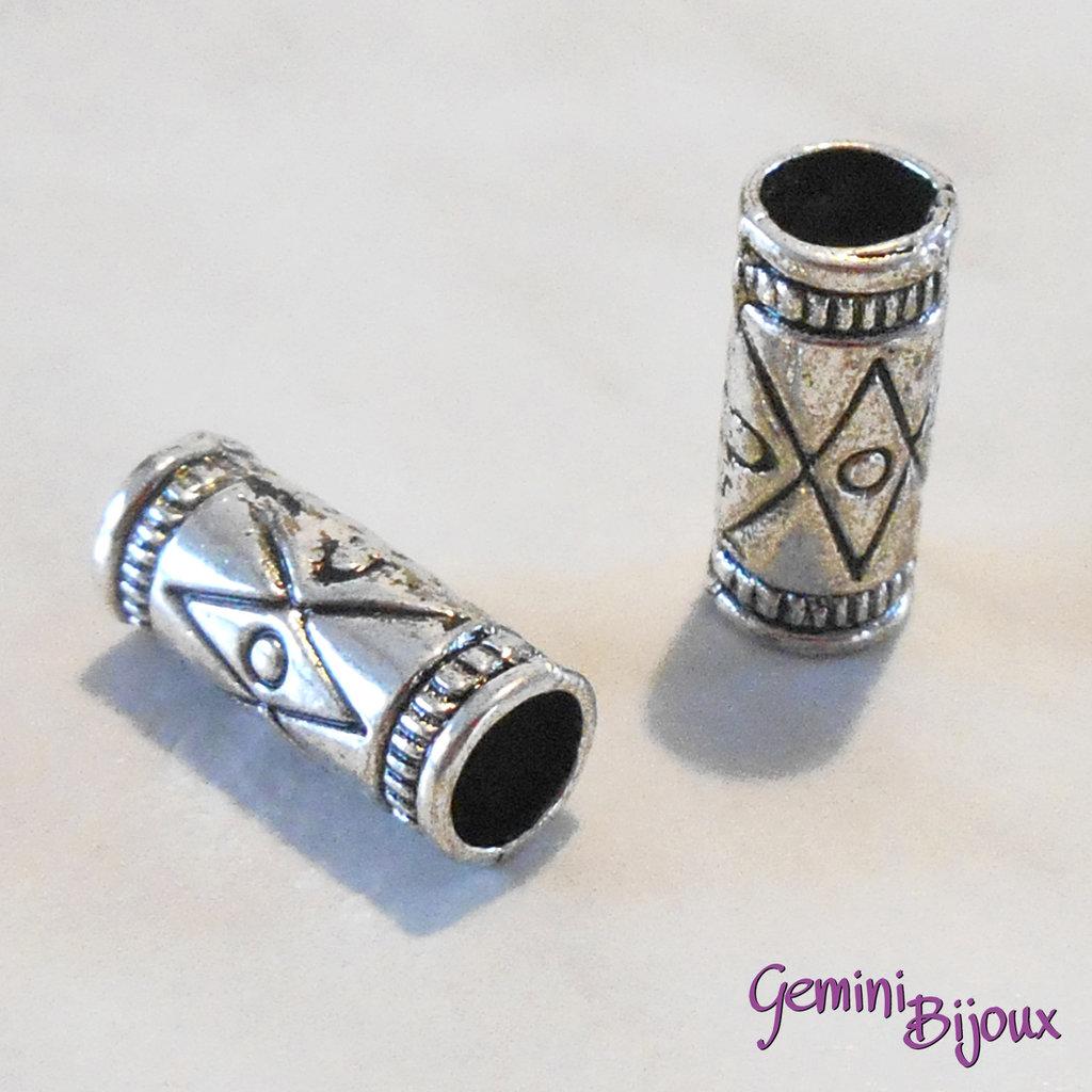 Perla tibetana in alluminio argentata a foro largo, mm 6x14. LH09