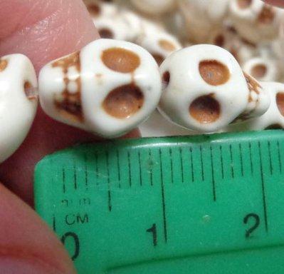 10 Mini Perline Teschi Pietra Sintetica BIANCO
