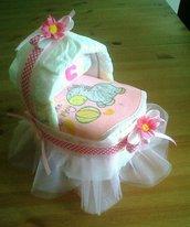 Culla di pannolini con tulle rosa e fiorellini