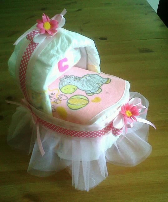 Amato Culla di pannolini con tulle rosa e fiorellini - Bambini - Nascita  ZH07